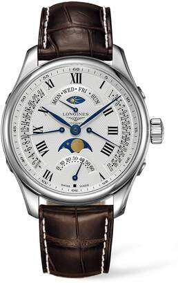 Longines Master Automatic Multifunction Leather Strap Watch, 44mm