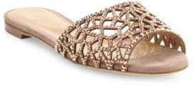 Sergio Rossi Tresor Swarovski Crystal & Leather Slides