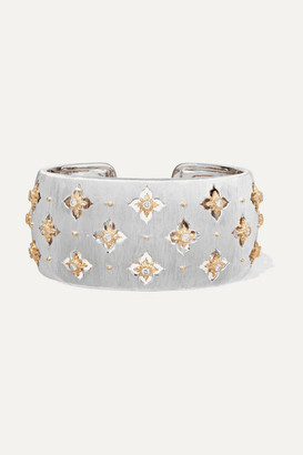 Buccellati Macri Giglio 18-karat White And Yellow Gold Diamond Cuff - White gold