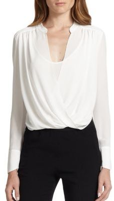 BCBGMAXAZRIA Jaklyn Draped Front Blouse $158 thestylecure.com