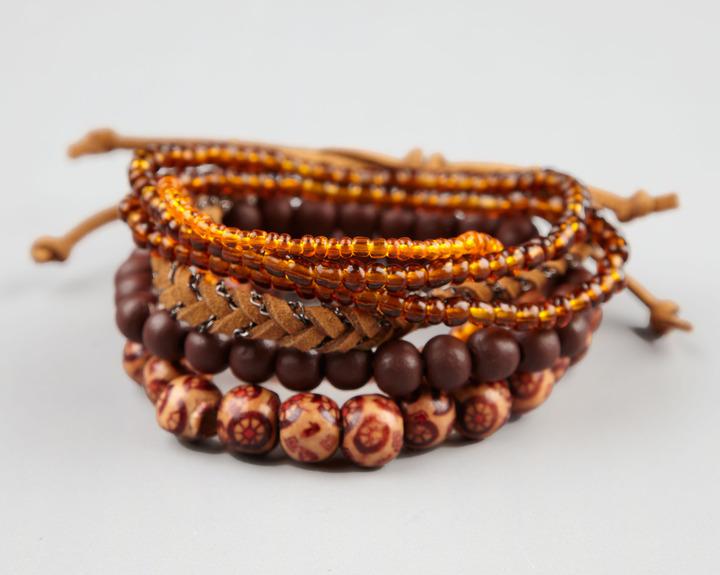 Full Tilt 6 Piece Suede Braid/Beaded Bracelets