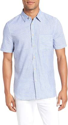 French Connection Stripe Chambray Cotton & Linen Sport Shirt