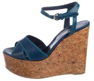 Sergio Rossi Leather Platform Wedges