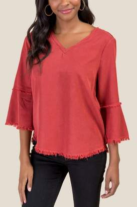 francesca's Claudia Frayed Hem Blouse - Cinnamon