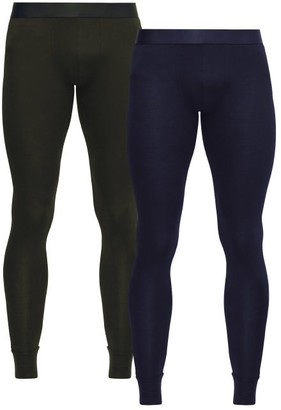 Cdlp - Pack Of Two Stretch Jersey Thermal Leggings - Mens - Green Navy