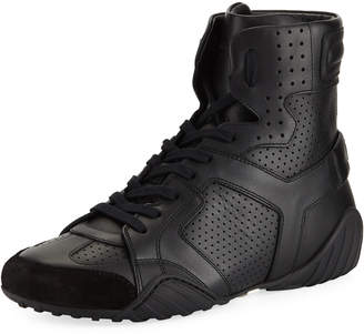 Christian Dior D Fence Perforated High-Top Sneakers Black