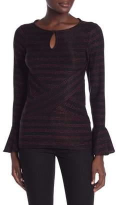 ECI Bell Sleeve Striped Print Blouse