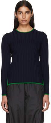 Enfold Navy Random Rib Sweater