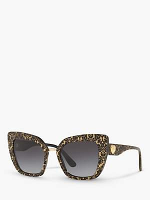 Dolce & Gabbana DG4359 Women's Cat's Eye Sunglasses, Damasco Glitter/Black Gradient