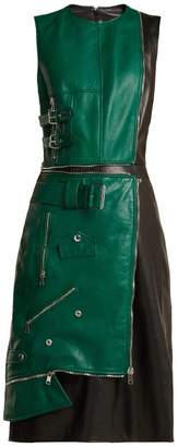 Alexander McQueen Panelled Leather Dress - Womens - Green Multi