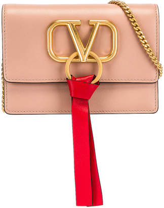 Valentino V Logo Ribbon Crossbody Bag in Rose & Red | FWRD