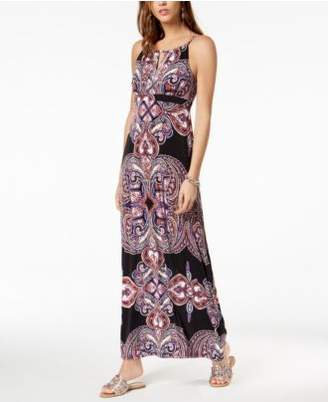 INC International Concepts I.N.C. Printed Keyhole Maxi Dress, Created for Macy's