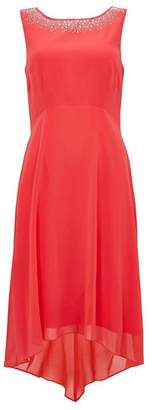 Wallis Coral Detailed Asymmetric Fit and Flare Dress