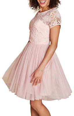Yumi Lace Skater Dress, Blush