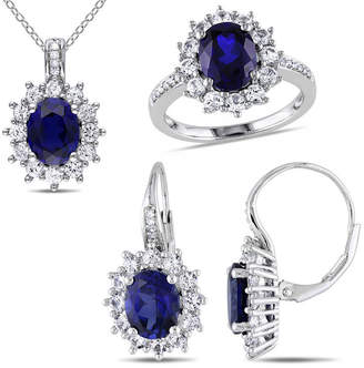 FINE JEWELRY Lab-Created Blue Sapphire and Diamond Sterling Silver Earring, Ring, and Pendant Necklace 3-Piece Set