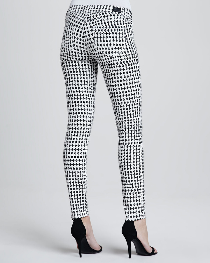 Paige Diamond-Check Skinny Jeans
