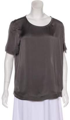 J Brand Silk Short Sleeve Blouse