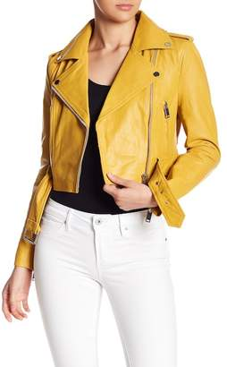 Walter W118 by Baker Cropped Leather Moto Jacket