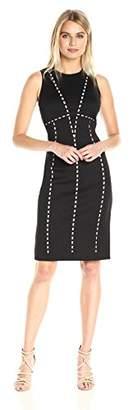 Calvin Klein Women's Sleeveless Laser Cut Piped Scuba Sheath Dress