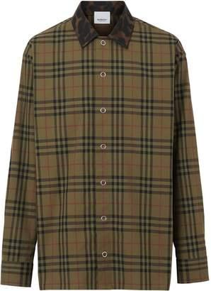 Burberry Contrast Collar Vintage Check Cotton Shirt