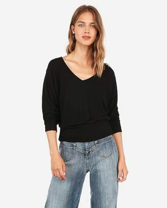 Express V-Neck Banded Bottom Brushed Knit Dolman Tee