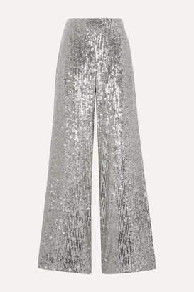 Semsem Sequined Tulle Wide-leg Pants - Silver