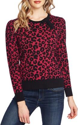 CeCe Leopard Cotton Sweater