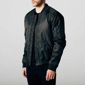 DSTLD Mens Nylon Bomber Jacket with Black Zippers in Black