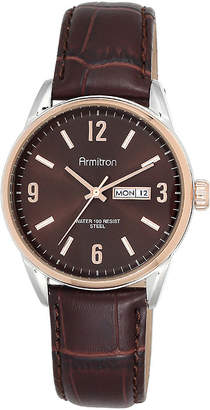 JCPenney Armitron All-Sport Mens Brown Dial Brown Leather Strap Watch