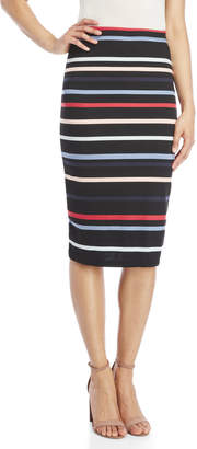 Max Studio Striped Ponte Pencil Skirt