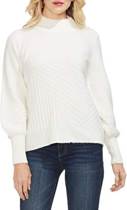 Vince Camuto Mix Cable Balloon Sleeve Cotton Blend Sweater