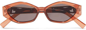 Le Specs Jordan Askill Petit Panthère Cat-eye Acetate And Gold-tone Sunglasses - Brown