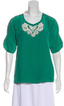Tibi Embellished Short Sleeve Blouse