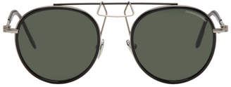 Calvin Klein Black Round Clip Bridge Sunglasses