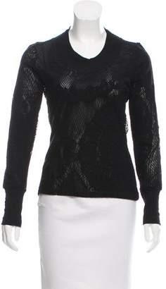 Jean Paul Gaultier Soleil Jacquard Mesh Long Sleeve Top