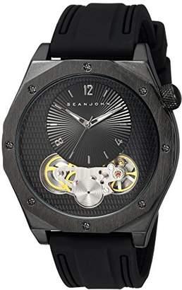 Sean John Men's 'Faux Automatic' Quartz Metal and Silicone Dress Watch