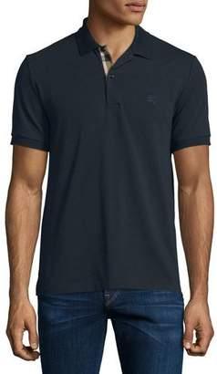 Burberry Short-Sleeve Oxford Polo Shirt, Dark Navy