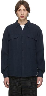 Schnaydermans Navy Wool Waffle Boxy Shirt Jacket