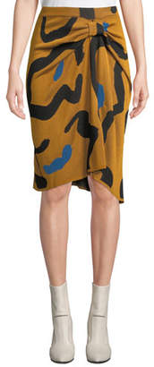 Christian Wijnants Kazu Draped Leopard-Print Jacquard Sweater Skirt