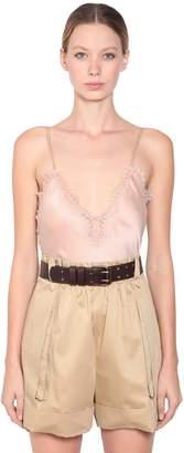 Alberta Ferretti Silk & Lace Top