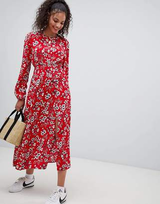 Nobody's Child maxi dress with shirred waist and side split in floral