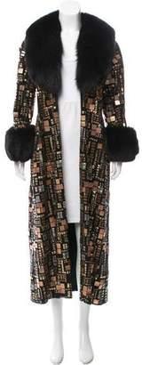 Adrienne Landau Embellished Suede Coat
