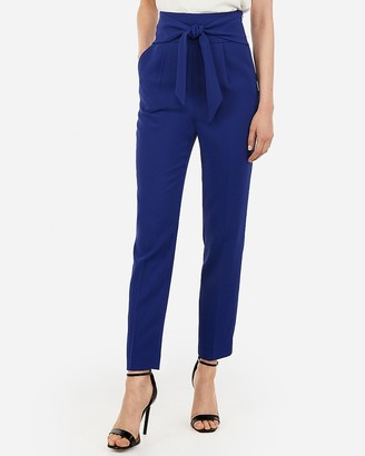 Express Super High Waisted Tie Front Ankle Pant