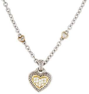 Judith Ripka Two-Tone Diamond Heart Pendant Necklace
