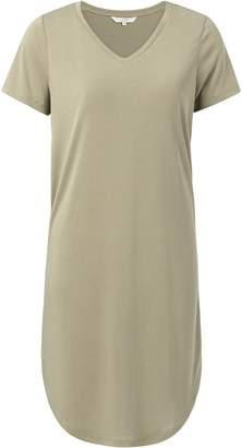 Ya-Ya Basic Jersey Dress with Short Sleeves - Army Green - MEDIUM - Green