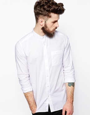 ASOS Shirt In Long Sleeve With Grandad Collar - White