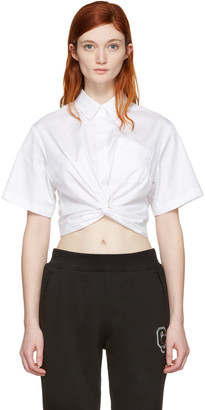 T by Alexander Wang White Twist Short Sleeve Cropped Shirt $250 thestylecure.com