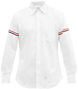 Thom Browne Tri Colour Band Cotton Oxford Shirt - Mens - White