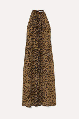 Bella Freud Edie Leopard-print Silk Crepe De Chine Halterneck Maxi Dress - Brown