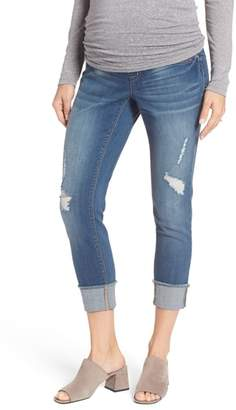 1822 Denim Destructed Maternity Crop Jeans